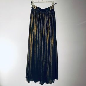 LUCY PARIS SHIMMERY MAXI SKIRT, GOLD/BLACK